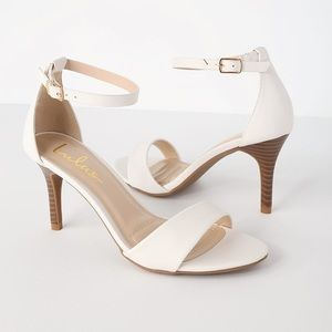 Lover White Stacked Ankle Strap Heel